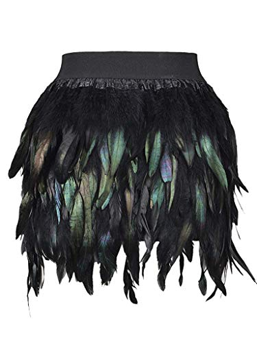 PERSUN Women's Mid Waist A-Line Short Feather Skirt for Party Supply (X-Large, Black) ()