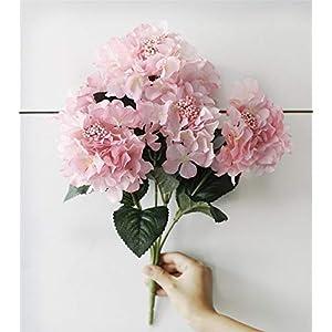 MARJON FlowersArtificial Flowers Silk 6 Big Heads Fake Silk Hydrangea Bouquet for Wedding, Room, Home, Hotel, Party Decoration, Pink 116