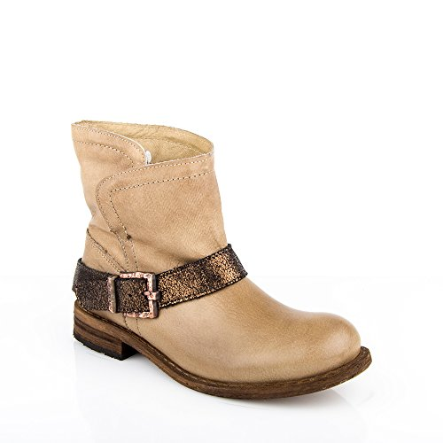 Felmini - Calzature Donna - Innamorarsi com King 8569 - Stivaletti Cowboy & Biker - Vero Pelle - Beige -