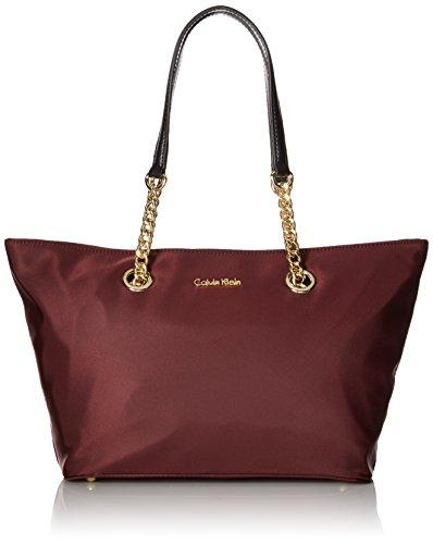 - Calvin Klein Florence Dressy Nylon East/West Chain Top Zip Tote, rum raisin