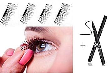 a6966aca74e Amazon.com : MEIQING 1Pair/4PC New MAGNETIC False Eyelashes Ultra-thin 3D  Free Glue Fiber False waterproof Reusable Fake Eyelashes Extension Natural  Soft ...