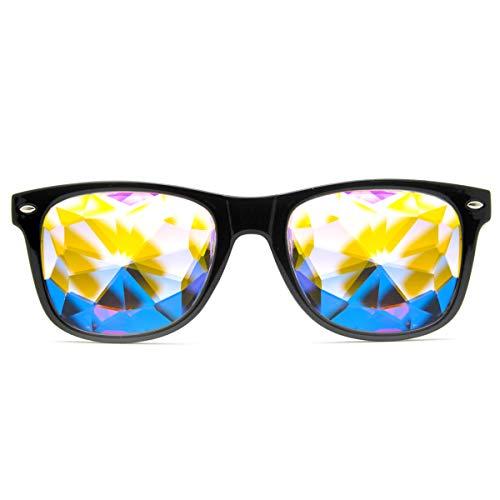 GloFX Ultimate Kaleidoscope Glasses - Black - Rainbow EDM Rave Light Diffraction Festival Eyewear (Black)