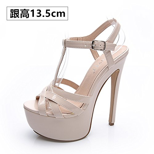 Xing Lin Ladies High Heel Sandals 14Cm High With Shoes Women Summer New Fine With Sandals Waterproof One Night, Fish Mouth Night Life. The bare lens with high-13.5cm -J09