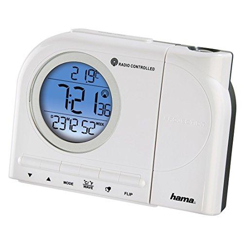 Hama Funk Projektionswecker (Inkl. Thermometer, Kalender, Wecker, automatische Zeitanpassung, Projektor um 180 Grad drehbar) weiß