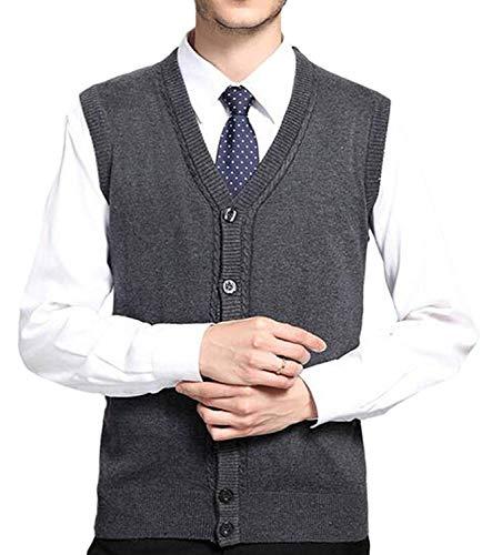 Fashion Col Avec Unie Couleur Sans Manches Vêtement Grau Hommes Licht T Saoye Tricoté V Et Manteau En Gilet Boutons shirt De Laine dqYpyw