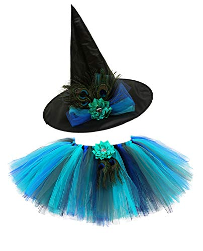 Tutu Dreams Little Girls Peacock Tutu Skirts Outfit with Hat Green Blue Tulle (Peacock, M)]()