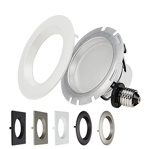 TORCHSTAR 4 Inch Dimmable Recessed LED Downlight, 10W (75W Equiv.), White Trim Attached, Trim Interchangeable, for All Furnishing Styles, 2700K Soft White, ETL-listed, 5 Years Warranty