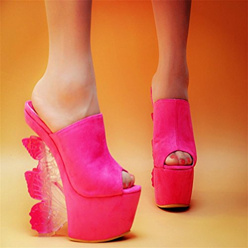 sandalias de de impermeables QPYC talón zapatos de mujer Rhinestone Taiwán con con Crystal Flop Overheight forma Ms diferente Flip Talla red wvqUv1t