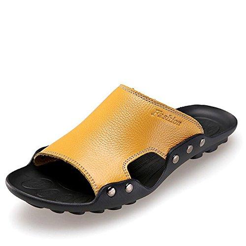 para Playa de LXMEI Surf 11 Aspecto Piel de Sandalias Zapatillas – de Multicolores Tallas amarillo Hombre 6 y Zapatillas pvOqvrI