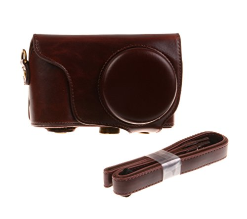 Nine States Synthetic Leather Protective Camera Case of Samsung GC200 GC110 GC120 GC100 with Neck Strap (Coffee)