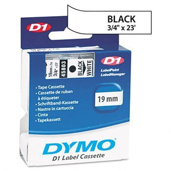 DYMO 45803 D1 Tape Cartridge for Dymo LabelManager and LabelWriter Duo Label Makers, 3/8-Inch x 23 Feet, Black on White, Pack of 3 by DYMO