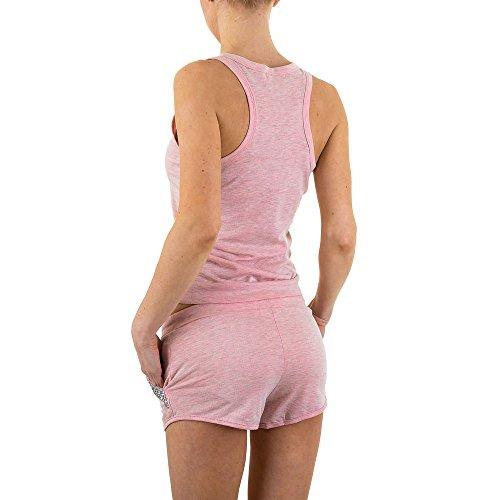 Freizeit Zweiteiler Strass Anzug Für Damen , Pink In Gr. S bei Ital-Design