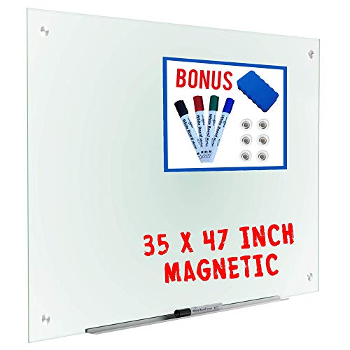 Magnetic Glass Whiteboard Dry Erase Board Black 4 Markers 6 Magnets Eraser Accessories Large Frosted Whiteboards Glasses For Interactive Office Wall Frameless White Glassboard Aluminum Tray 35 x 47 ()