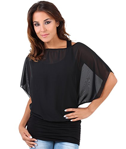 KRISP 3559-BLK-18 Batwing Top,Black,UK 18/US 14 ()