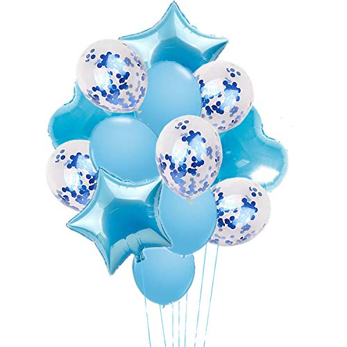 14 Pieces Party Balloons Blue Latex Balloons Confetti Balloons and Star Heart Foil Balloons Birthday Party Decoration Kids Baby Shower Wedding Supplies
