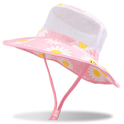 DUOYEREE Baby Sun Hat Wide Brim Neck Protection Beach Pool Toddler Girl Boy Hat (6-12 Months, Pink Daisy Printed) ()