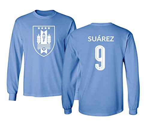 43ce15186 Tcamp Uruguay 2018 National Soccer #9 Luis SUAREZ World Championship Boys  Girls Youth Long Sleeve T-Shirt (Carolina Blue, Youth X-Large)