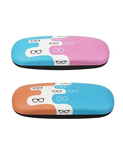 [2 PACK], JAVOedge Glasses Theme Printed Pattern Durable Hard Clamshell Eyeglass Storage Case w/ Bonus Microfiber Cloth