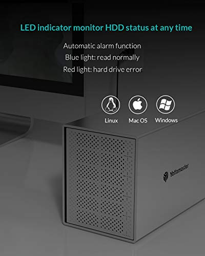 """Yottamaster Aluminum Alloy 5 Bay USB3.0 3.5"""" Hard Drive Enclosure for 3.5 Inch SATA HDD Support 5 x 16TB & UASP,Mac Style Designed for Personal Storage at Home&Office- [PS500U3]"""