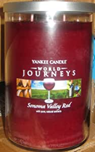 Yankee Candle World Journeys 20 oz Large Tumbler Candle SONOMA VALLEY RED with pure Natural extract