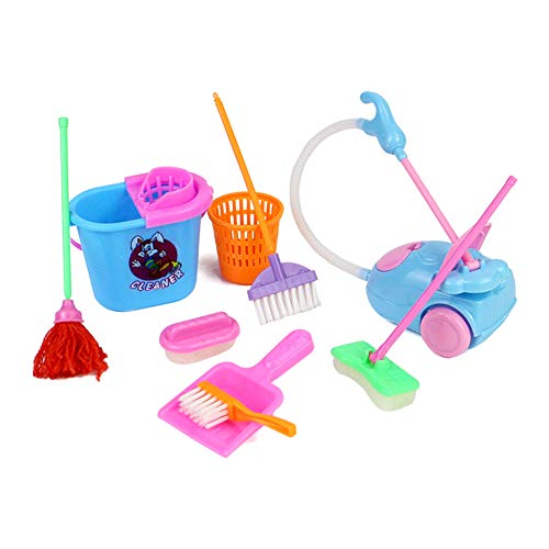 Liveday 9 Pcs/Set Kid Pretend Play Mini Housekeeping Tools Kitchen Home Cleaning Broom Brush Toy Early Learning