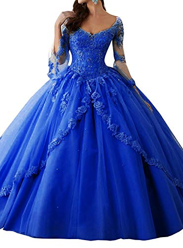 Eldecey Women's V-Neck Lace Applique Sweet Sixteen Long Sleeves Pageant Backless Ball Gown Prom Quinceanera Dress Royal Blue ()