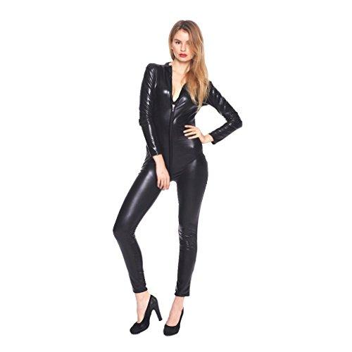 YiZYiF Women's Faux Leather Wet Look Clubwear Bodysuit with Zipper Crotch