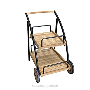 Kontiki Cushion Storage, Carts and Shelves Wooden Accent Carts & Rack - Teak Composite and Aluminum 2 Shelf Trolley with Wheels