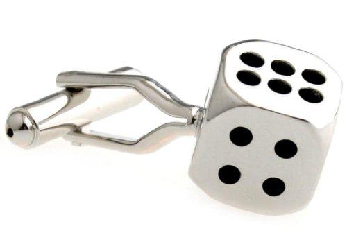 Dice Silver Cufflinks - MRCUFF Dice Die Gambling Pair Cufflinks in a Presentation Gift Box & Polishing Cloth