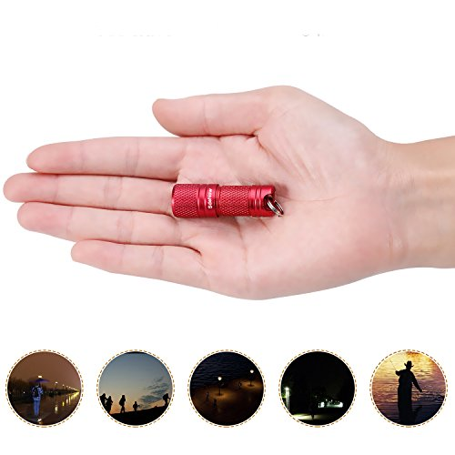 Mini Flashlight Keychain with Micro USB Tiny Flashlight Brightness can Achieve up to 200 lumens for EDC Torch (Red) -