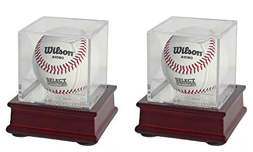 DisplayGifts Pro UV Baseball Display Case Holder Stand (Cherry 2-Pack)