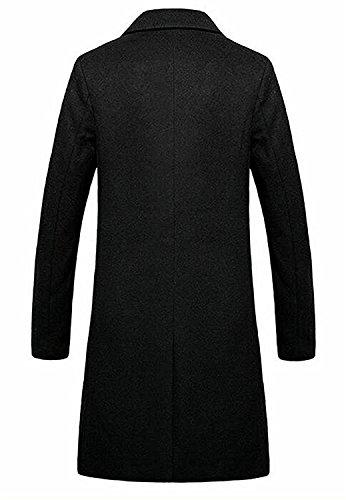 Beautface Makeup Mens Casual Trench Coat Long Jacket Single Breasted Pea Coat BlackUS-L