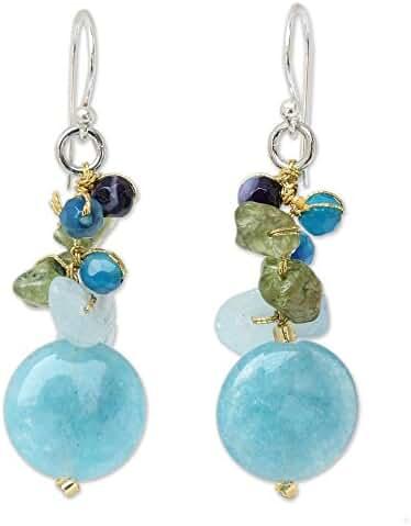 NOVICA Multigem Cluster Earrings with Quartz and .925 Sterling Silver Hooks, 'Thai Joy'