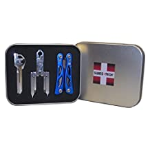 Swiss+Tech ST20023 Polished Stainless Steel/Blue Utility Key Tool, Micro Pocket Multitools Gift Tin, Set of 3