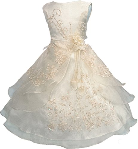 Little Girls Embroidered Beaded Flower Girl Dress with Petticoat Champagne 4t-5t]()
