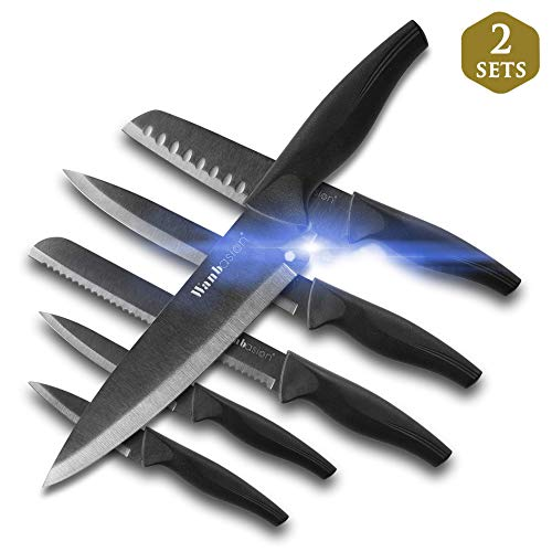 Wanbasion 12 PiecesMatteBlack TitaniumPlated Knife Set Stainless Steel Forged Kitchen Knife Set - Sharp Professional Knife Set with Sheath, Scratch Resistant & Rust Proof, For Chef Cooking Paring