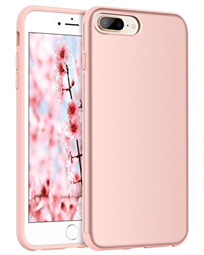 BENTOBEN Phone Case for Apple iPhone 8 Plus, iPhone 7 Plus, Heavy Duty Shock Proof Protective iPhone Case, Dual Layer Hybrid Hard PC Bumper Flexible TPU Slim Case Cover for Women, Girls - Rose Gold