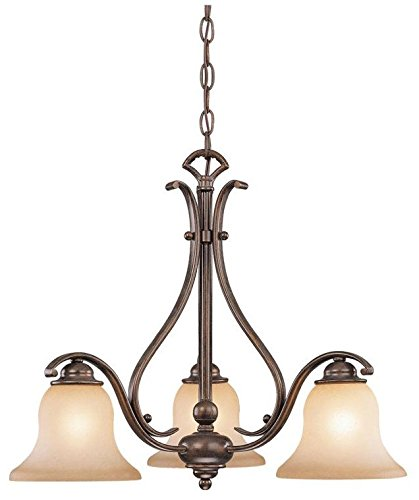 Vaxcel USA CH35403RBZB Monrovia 3 Light Chandelier Lighting Fixture in Bronze, Glass by Vaxcel