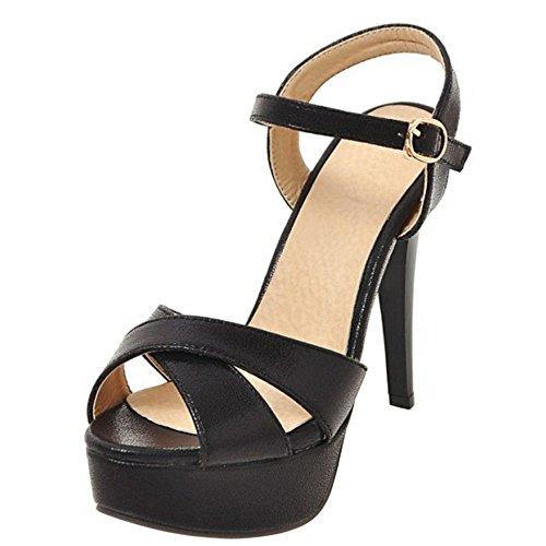 RAZAMAZA Mujer Moda Plataforma Tacon de Aguja Sandalias Verano Talon Abierto Boda Zapatos Negro