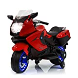 TAMCO Kids Motorcycle Electric Ride On Toy Motorcycle with Lighting Wheels, MP3 Music Playing, 2 Training Wheels, 2 Side Box for Child 2-5 Years Old Max Load 66LB