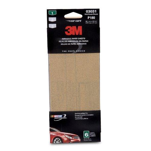 3M 03031 3-2/3'' x 9'' Fine Aluminum Oxide Automotive Sandpaper (Pack of 40)