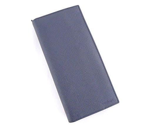 プラダ 二つ折り長財布 サフィアーノ レザー ネイビー [中古]   B0749LW57Q