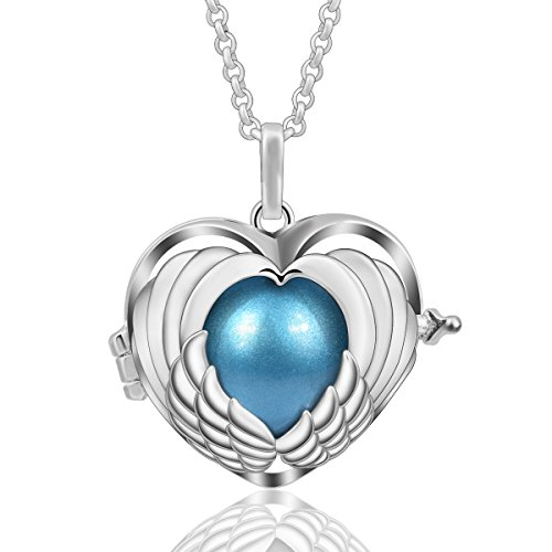 - AEONSLOVE Women Silver Heart Angel Wing Harmony Bola Chime Bell Pendant Necklace Long Chain 30