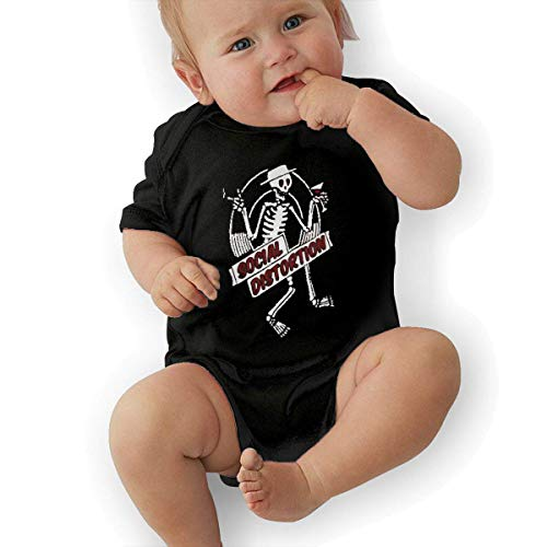 ZLRY Infant Jersey Bodysuits Social Distortion Skeleton Punk Newborn Babys 0-24M Organic Cotton Trottie Outfit Black