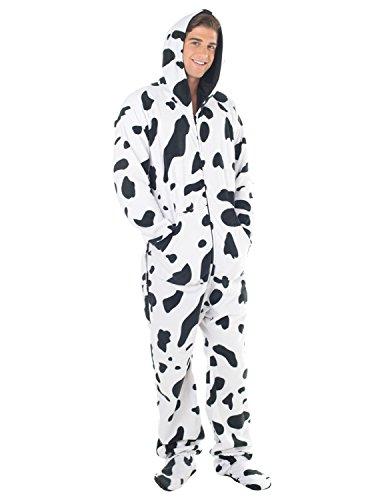 Adult Fleece Footed Pajamas - Footed Pajamas - Cowhide Adult Hoodie Fleece - XSmall