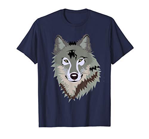 - Mens Cool Wild Gray Timber Wolf Endangered Animal Face T-Shirt