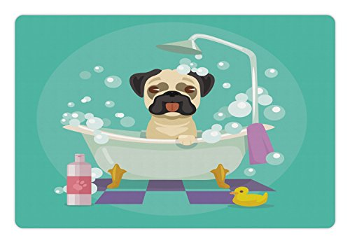 Le Salon Rubber (Nursery Pet Mats for Food and Water by Lunarable, Pug Dog in Bathtub Grooming Salon Service Shampoo Rubber Duck Pets in Cartoon Style Image, Rectangle Non-Slip Rubber Mat for Dogs and Cats, Teal)