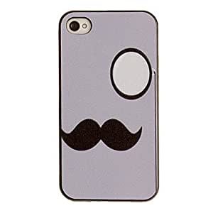 Mustache with Circle Pattern PC Hard Case with Black Frame for iPhone 4/4S