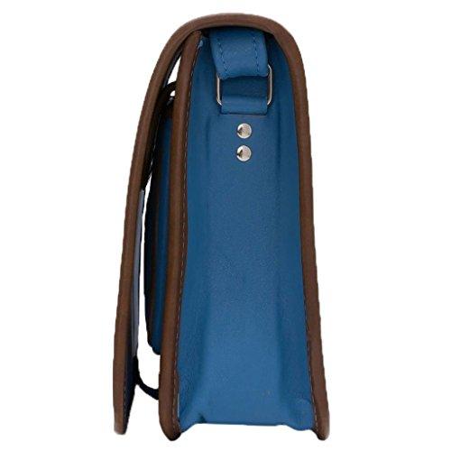 Koson cuoio modellata blu tulipano a mano borsetta a tracolla messenger bag