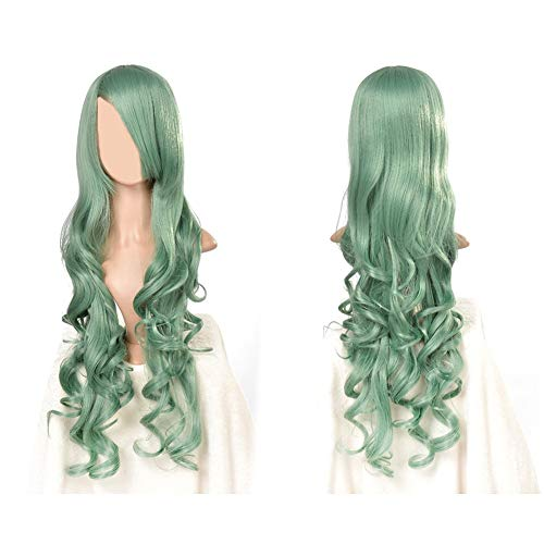 PEPECARE 80cm Women Long Curly Wig Wavy Lolita Hair Universal Cosplay Party Full Lady Wig (Green) -